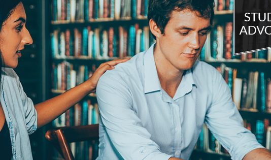 Student Advocate: Girl consoling a guy