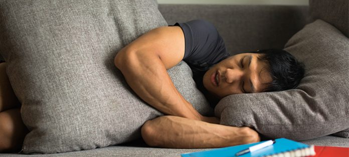 male napping on couch   fragmented sleep