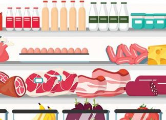 Grocery case illustration with meat and other foods