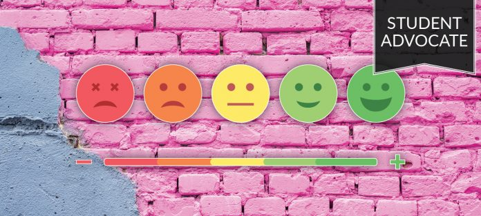 student advocate: scale of sad to happy faces