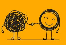 illustration, smiling untangled holding hands with tangled character | closeup of friends hugging | things to say to someone who has depression