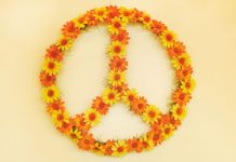 peace sign made of flowers | international day of peace