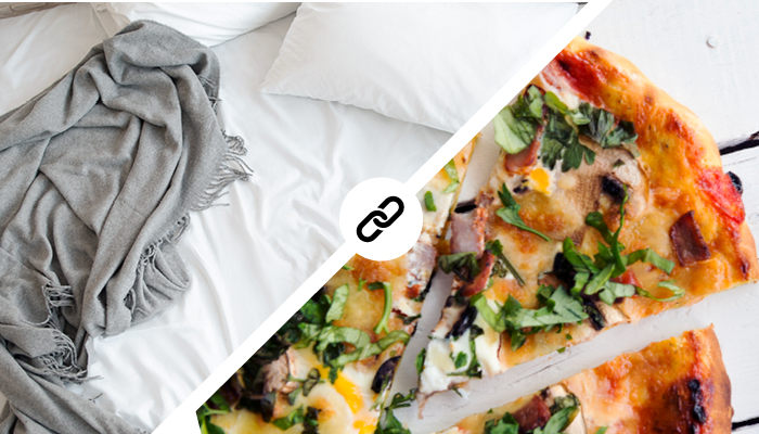 image of bed sheets beside image of pizza