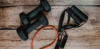 dumbbells and resistance band | HIIT workout