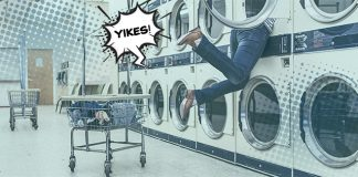 Cartoon-rendered image of person falling into washing machine | adulting skills
