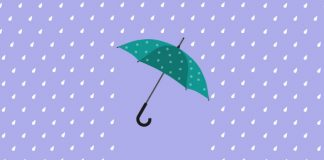 graphic, teal umbrella in rain | guided meditation for feeling overwhelmed