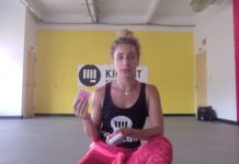 Eliza Shirazi sits explaining deck of cards workout