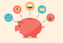 Piggy bank vector with spending icons
