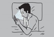 concept illustration of male laying in bed with phone