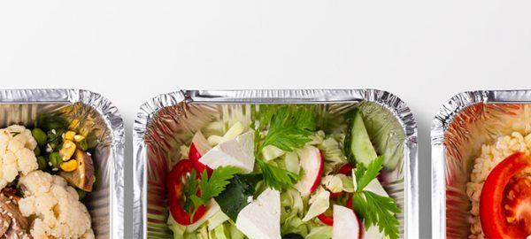 pans of prepared food