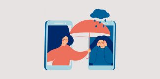illustration of person holding umbrella over friend| how to help a friend deal with loss