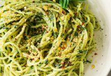Pasta in white bowl against marble background | vegan pesto sauce
