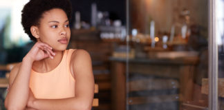 Pensive African American female