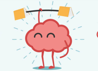 Illustration of brain lifting books