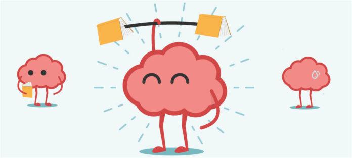 Illustration of brain lifting books