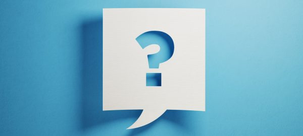 question mark on blue