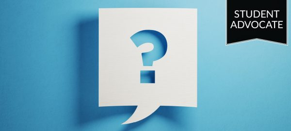 Student advocate: question mark on blue
