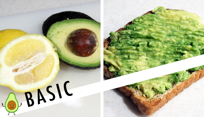 basic avocado toast with lemon