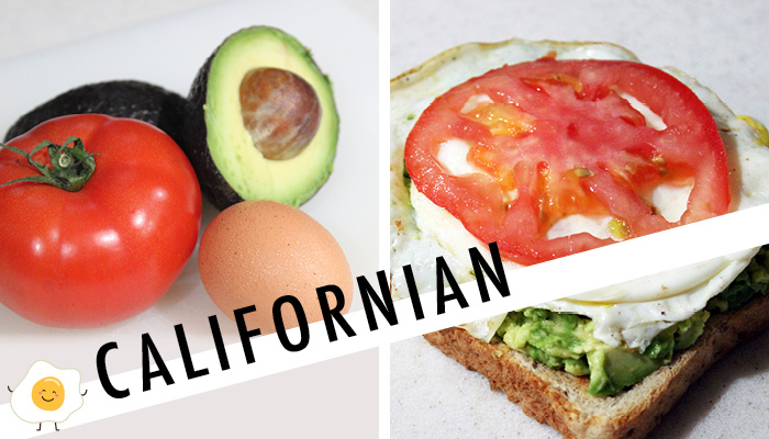 californian avocado toast with tomato and egg