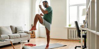 man exercising at home | low impact hiit