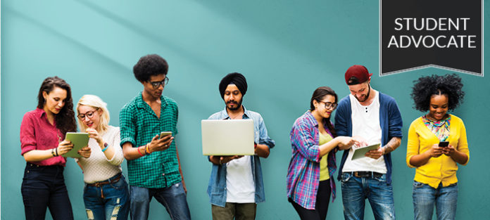 Group of diverse people with digital devices