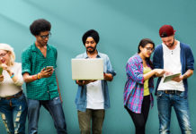 diverse group using digital devices