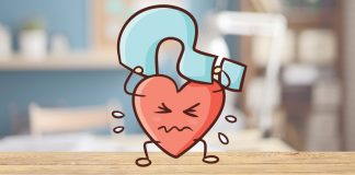 cartoon heart holding a question mark | how to know when it's time to break up