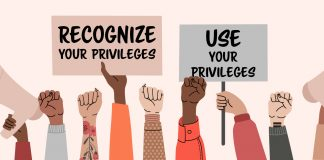 illustration of protest signs: recognize your privileges and use your privileges | how to create an inclusive campus