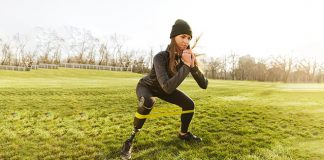 girl with prosthetic leg squatting   Exercises for your glutes