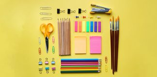 neatly organized office supplies