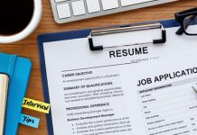 resume and job application on desk