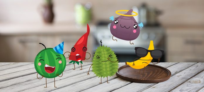 A bunch of fruit characters