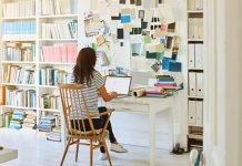 young woman in home office space