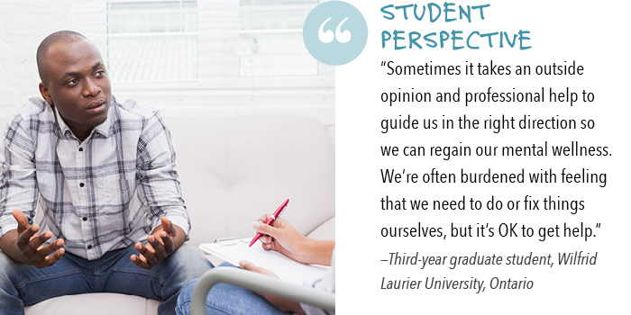 "Student perspective: ""Sometimes it takes an outside opinion and professional help to guide us in the right direction so we can regain our mental wellness. We're often burdened with feeling that we need to do or fix things ourselves, but it's OK to get help."" —Third-year graduate student, Wilfrid Laurier University, Ontario"