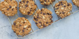 chocolate chip oatmeal cookies on cooling rack