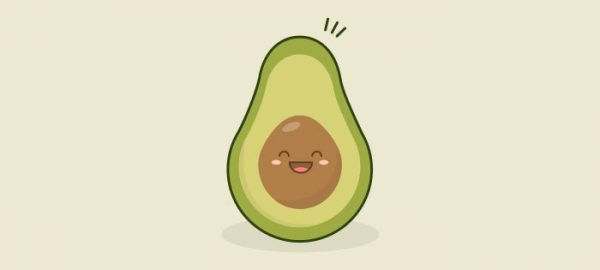 happy avocado illustration