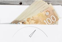 envelope of Canadian money with gauge vector