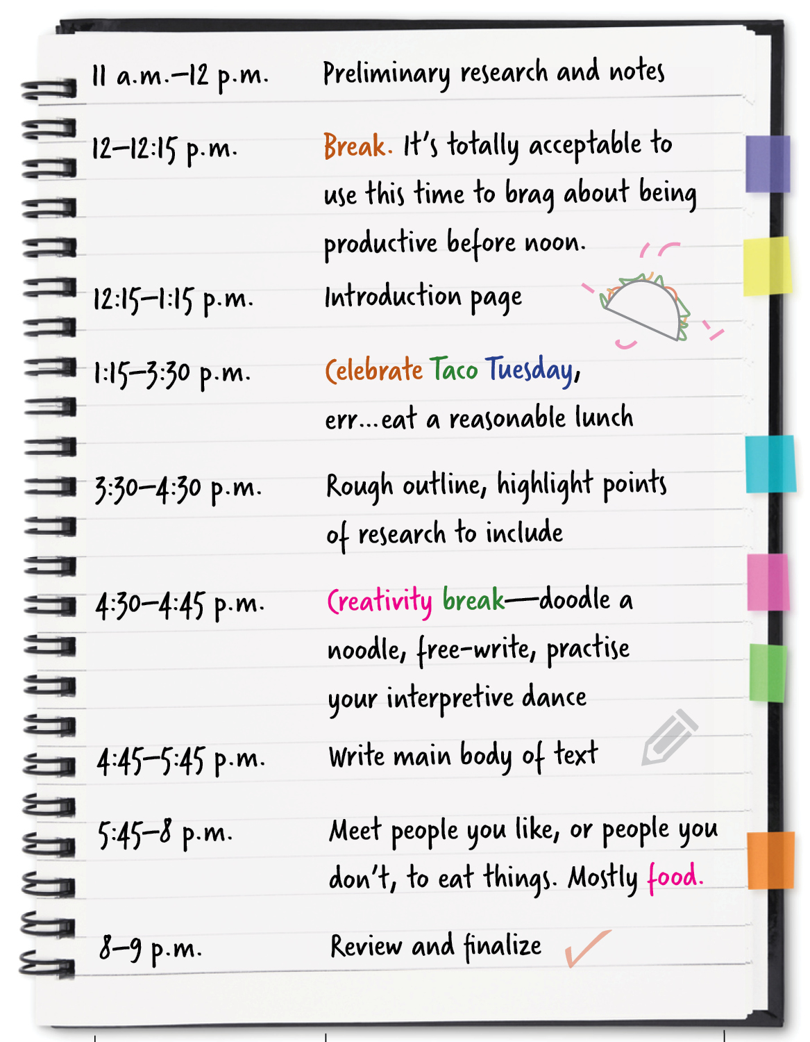 [Notebook graphic displaying:] 11 a.m.–12 p.m.: Preliminary research and notes 12 p.m.–12:15 p.m.: Break. It's totally acceptable to use this time to brag about being productive before noon. 12:15–1:15 p.m.: Introduction page 1:15–3:30 p.m.: Celebrate Taco Tuesday, err…eat a reasonable lunch 3:30–4:30 p.m.: Rough outline, highlight points of research to include 4:30–4:45 p.m.: Creativity break—doodle a noodle, free-write, practise your interpretive dance 4:45–5:45 p.m.: Write main body of text 5:45–8 p.m.: Meet people you like, or people you don't, to eat things. Mostly food. 8–9 p.m.: Review and finalize