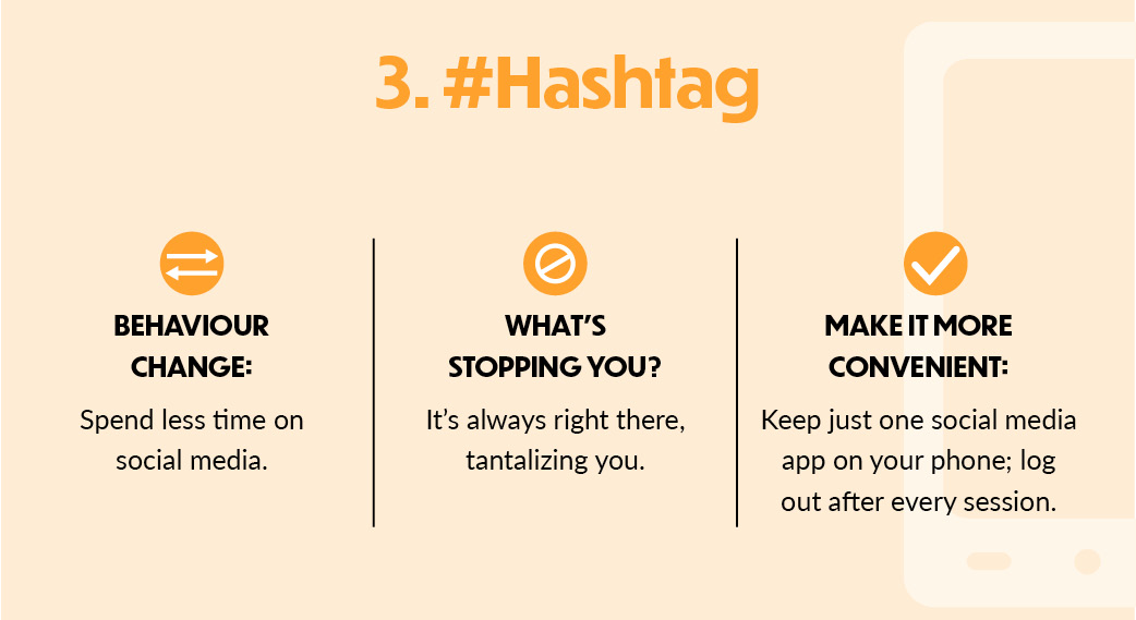 3. #Hashtag: behaviour change: Spend less time on social media. What's stopping you? It's always right there, tantalizing you. Make it more convenient: Keep just one social media app on your phone; log out after every session.
