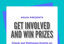 Teal and white box with advertisement to win prizes for pathways participation!