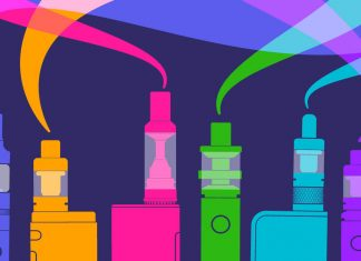 colorful illustration of vape devices