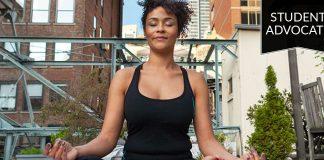 Student advocate: woman meditating outside
