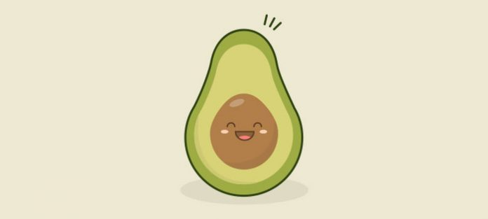 happy avocado illustration