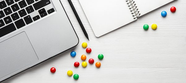 desk with candy