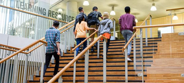 group of students walking up stairs