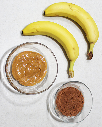 ripe bananas, nut butter, and cocoa powder