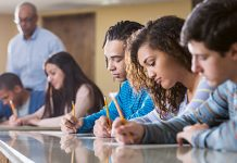 Group of students taking test