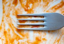 A fork on a dirty plate