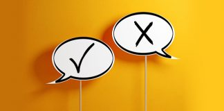 speech bubbles, one check mark and one x