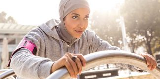 Muslim girl working out